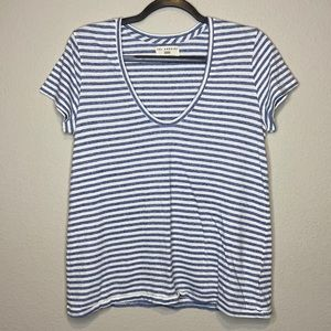ANTHRO SOL ANGELES Striped Blue White Tee Large